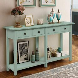 Retro Console Table Sofa Table for Entryway with Drawers and Shelf Living Room Sideboard (Retro  ...