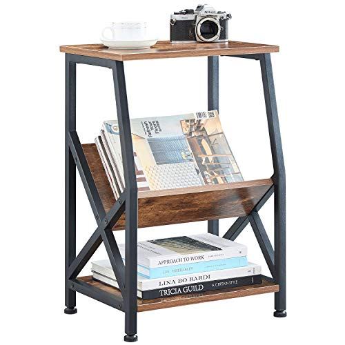 VINEXT Nightstand, Rustic End Table for Living Room, Bedroom, Side Table with 3-TierStorage Shel ...