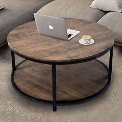36″ Wood Round Coffee Table, Industrial Wood Top & Sturdy Metal Legs for Living Room M ...