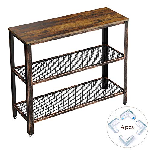 Rolanstar Rustic Console Table, Sofa Table with Corner Protectors, Iron Mesh Storage Organizer S ...
