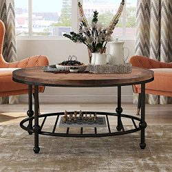P PURLOVE Round Coffee Table Rustic Style Living Room Table Home Table with Storage Shelf Metal  ...