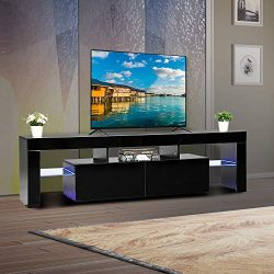 Bonnlo Modern TV Stand with LED Light 63 Inch TV Stand TV Cabinet Media Storage Console Table wi ...