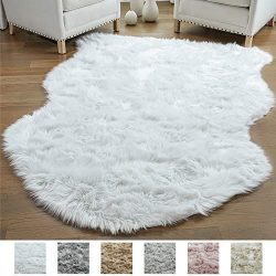 Gorilla Grip Original Premium Faux Sheepskin Fur Area Rug, 3 FT x 5 FT, Softest, Luxurious Carpe ...