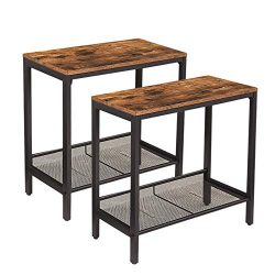 HOOBRO Side Table, Set of 2 Narrow Nightstands, Industrial End Table with Flat or Slant Adjustab ...