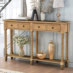 Retro Console Table Sofa Table for Entryway with Drawers and Shelf Living Room Table (Antique Wa ...