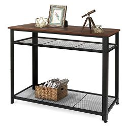 WLIVE Industrial Console Table, Sofa Table with 2 Metal Mesh Storage Shelves, 39.4 x 13.8 x 31.5 ...