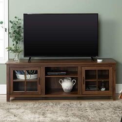 Walker Edison Furniture Company Modern Farmhouse Grooved Wood Stand with Cabinet Doors for TV ...
