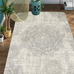 Lahome Vintage Medallion Area Rug – 4′ X 6′ Faux Wool Non-Slip Area Rug Accent ...