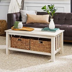 WE Furniture Rustic Wood Rectangle Coffee Accent Table Storage Baskets Living Room, 40 Inch, Whi ...
