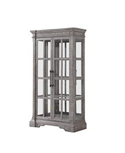 Benjara  Wooden Curio with Double Door Glass Cabinets and 4 Shelves, Gray and Clear