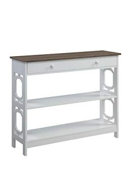 Convenience Concepts Omega 1-Drawer Console Table, Driftwood Top/White Frame