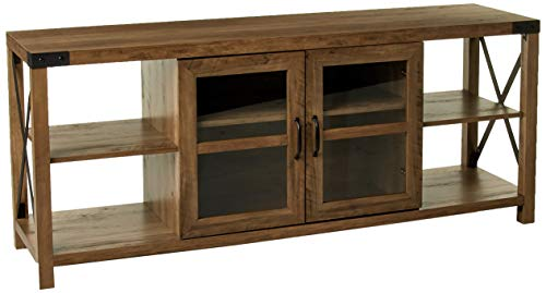 Walker Edison Furniture Company Modern Farmhouse Metal X Wood Stand Storage Cabinet for TV' ...