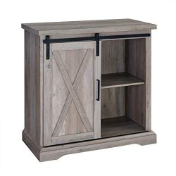 Pemberly Row 32″ Farmhouse Sliding Barn Door Wood Accent Chest Buffet Storage Cabinet in G ...
