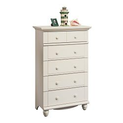Sauder Harbor View 5-Drawer Chest, Antiqued White finish
