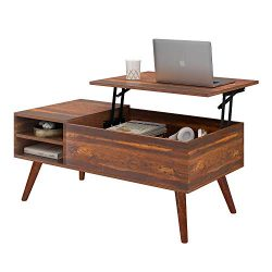 WLIVE Wood Lift Top Coffee Table with Hidden Compartment and Storage Shelf, Lift Tabletop Dining ...