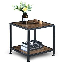 GreenForest End Table with Storage Shelf 2 Tier Metal Frame Side Table for Living Room Bedroom,  ...