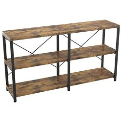IRONCK Rustic Entryway Console Table, Long Hallway Table 55 in 3-Tier, TV Stand Entertainment Ce ...