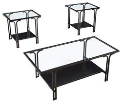 Signature Design by Ashley – Geriman Glass Top Occasional 3-Piece Table Set, Black