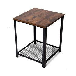 BELARDO home Industrial End Table, Vintage Nightstand with Metal Mesh Shelves, Rustic Side Table ...