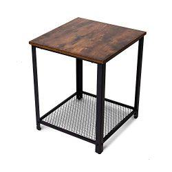 BELARDO home Industrial End Table, Vintage Nightstand with Metal Mesh Shelves, Rustic Side Table ...