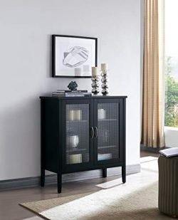 Kings Brand Furniture – Lisle 2 Door Wood Console Table/Accent Storage Cabinet, Black
