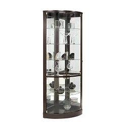 Home Fare Sable Mirrored Back Curved Corner Curio