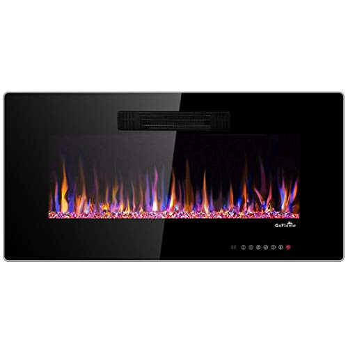 Tangkula 36″ Recessed Electric Fireplace, in-Wall & Wall Mounted Electric Heater, Remo ...