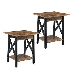 GreenForest End Tables Set of 2 Industrial Side Table with Storage Shelf for Living Room Bedroom ...