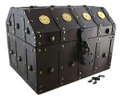 Treasure Chest Pirate 13x 9x 9 Lock Skeleton Keys Doubloon Accents in Antique Cherry Stain By We ...