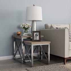 Lavish Home Nesting Set of 2, Modern Woodgrain Look for Living Room Coffee Tables or Nightstands ...