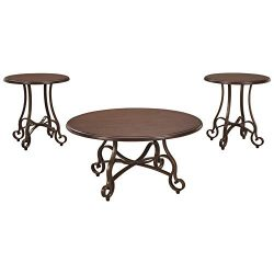 Signature Design by Ashley – Carshaw Occasional Dramatic Coffee Table Set of 3, Brown Metal