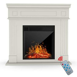 KUPPET Electric Fireplace, Freestanding Electric Fireplace Mantel Package Heater, Log Hearth wit ...
