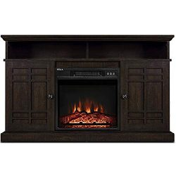 BELLEZE TV Stand Media Console Table Living Room Storage W/Electric Fireplace, Espresso