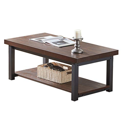 SHOCOKO Coffee Table for Living Room, Industrial Wood and Metal Cocktail Table with Shelf, 47 In ...