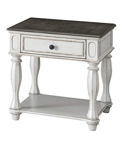 Martin Svensson Home Grove Hill, End Table, Antique White with Grey Tops