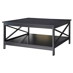 Convenience Concepts Oxford 36″ Square Coffee Table, Black