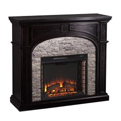Furniture HotSpot Tanaya Electric Fireplace – Ebony w/Gray Stacked Stone