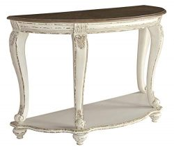 Signature Design by Ashley – Realyn Semi-Circle Console Table, White/Brown Wood