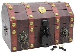 Well Pack Box Treasure Chest Pirate 11 x 7 x 6 Lock Skeleton Keys Doubloon Accents in Antique Ch ...