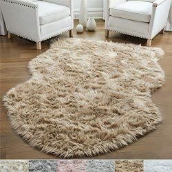 Gorilla Grip Original Premium Faux Sheepskin Fur Area Rug, 4 FT x 6 FT, Softest, Luxurious Carpe ...