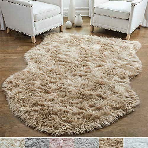 Gorilla Grip Original Premium Faux Sheepskin Fur Area Rug, 4 FT x 6 FT, Softest, Luxurious Carpe ...