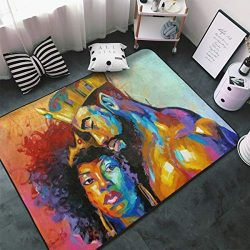 Matthzhang Large Non-Slip Area Rug Afro Queen African American Women Girl Afro Girl Carpet Livin ...