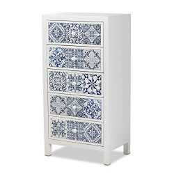 Baxton Studio Chest, White/Blue