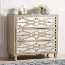 Rowan 34″ Wide Mirrored and Whitewash 3-Drawer Accent Chest – 55 Downing Street