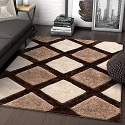 Well Woven Parker Brown Geometric Boxes Thick Soft Plush 3D Textured Shag Area Rug 4×6 (3&# ...
