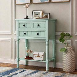 Narrow Console Table, Rustic Entryway Table Slim Sofa Table with Three Storage Drawers and Botto ...
