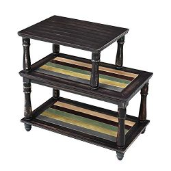 VASAGLE End Table with Colorful Storage Shelf, 3-Tier Narrow Side Table with Solid Wood Legs, St ...