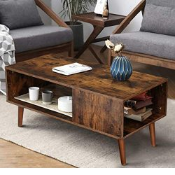 KINGSO Retro Coffee Table Mid Century Modern Coffee Table with Storage Shelf for Living Room Vin ...