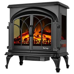 e-Flame USA 28″ XL Denali Portable Freestanding Electric Fireplace Stove – 3-D Log a ...