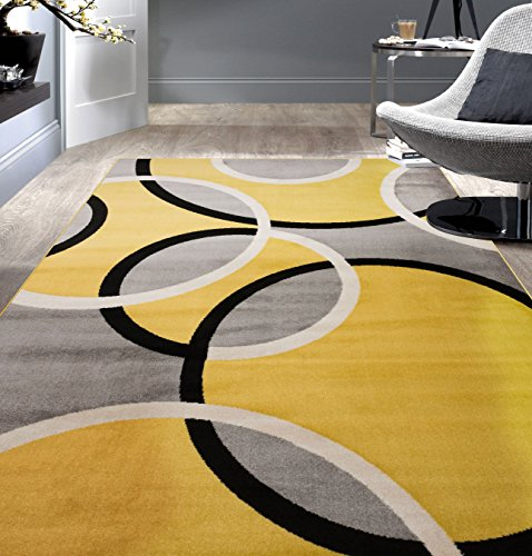 Rugshop Contemporary Abstract Circles Area Rug 5′ 3″ x 7′ 3″ Yellow